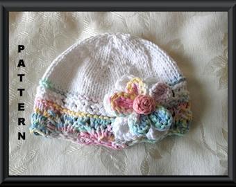 Baby Hat Pattern Instant Download Hat Pattern Knitted Hat Pattern Infant Knit Hat Pattern Baby Hat with Flower Hat Pattern : BIG FAT FLOWER