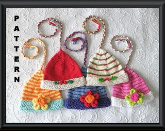 Knitted Hat Pattern Instant Donwload Baby Hat Pattern Christmas Elf Hat Pixie Hat  Instructions for Mistletoe and flower:ELF MISTLETOE HAT