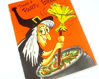Vintage Halloween Party Invitation, Invite, Witches Brew, xi Beta Sorority, Orange  (598-13)