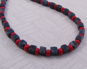 "Blue Cubes Red Beads Necklace, 20"" Necklace, Red and Blue Jewelry, Stone Squares Necklace, Gift for Her"