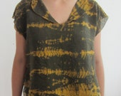 Golden Olive Grasses. Cotton Gauze Cropped Top