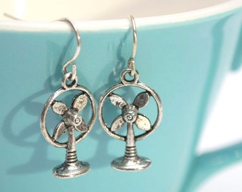 Silver Vintage Fan Earrings- Charm Earrings