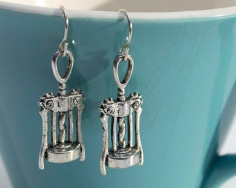 Corkscrew Wine Opener Silver Charm Earrings