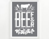 Beef and Beer Print, 18 x 24 Hand Printed - Choose Your Color