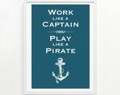 Play Like A Pirate Print, 9 x 12 - pick your color