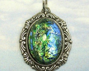 Vintage Opal Pendant  Green Glass Cabochon Silver setting Bead Component sc