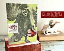 Modern Dachshund Happy Christmas Card