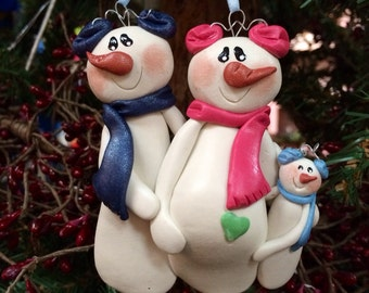 Personalized Snowman Expecting Plus Little Boy Christmas Ornament