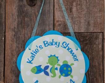 Ocean Baby Shower Door Sign - Baby Shower Decorations - Welcome Sign - Under the Sea Shower - Ocean Baby Shower Sign