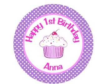 Cupcake Iron On Transfer for Birthday Shirt - Cupcake Theme Birthday Party Iron on Transfer - Birthday Outfit - Hot Pink & Purple