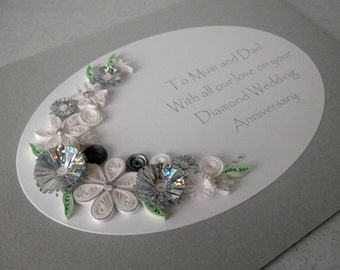 Quilled 60th diamond wedding anniversary card, handmade, paper quilling