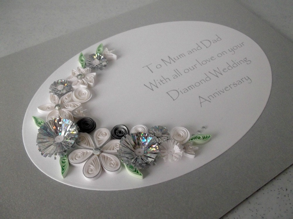 Quilled 60th Diamond Wedding Anniversary Card Handmade Paper