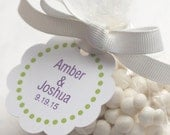 """12 Cellophane Favor Bags - Personalized Tags - Wedding Favors - Bridal Shower Favor Bags - Scalloped Tags - 2"""" Tags"""