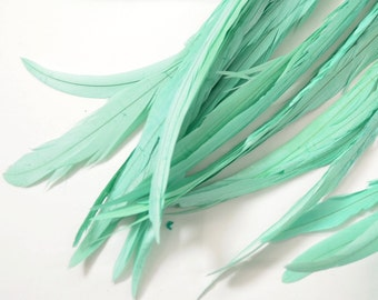 Magnifica Rooster Tail Feathers -  Mermaid Green 10 pcs