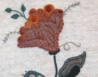 Jacobean Flower Wool Applique, Hand Embroidery / Pattern / Jac 017
