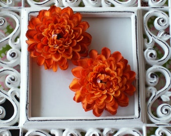 2 inch Pom Pom Mum Silk Flowers------Orange-----Set of 2