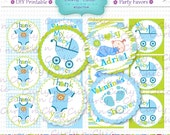 Baby Boy - Baby Shower Printable Party Tag, Cupcake Topper, DIY, You Print, You Cut -DIY- Personalized Digital Printable-