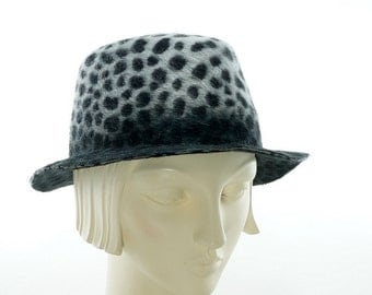 Animal Print FEDORA HAT for Women - Gray Felt Hat for Women - Women's Winter Hat - Fedora Hat Women's -  Women's Felt Hat - Stingy Brim Hat
