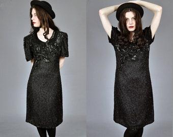 Vtg 1990's Silk BEADED Sequin Black Shift Dress L