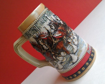 Vintage Budweiser Collector's Series Holiday Beer Stein 1988