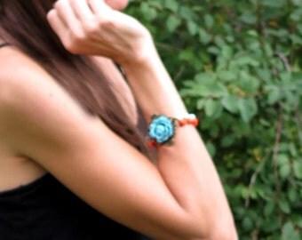 Turquoise Flower Bracelet Rose Beaded Bracelet Orange and Blue Beaded Bracelet Vintage Shabby Chic - Shannon