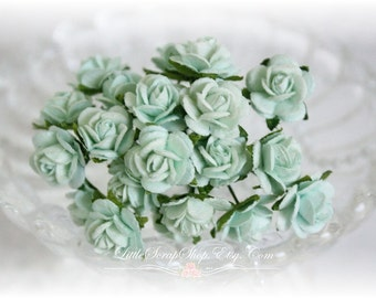 Miniature Roses~Light Mint~ Set of 20 for Scrapbooking, Cardmaking, Altered Art, Wedding, Mini Album