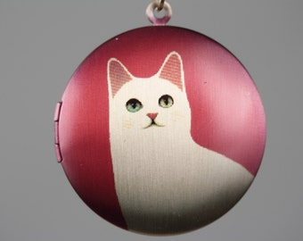 Bright Red Cat Locket, White and Red Necklace, Gold Locket, Kitty Cat Pendant, Long Chain Pendant, Cat Jewelry