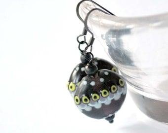 Dark Purple Lampwork Glass Earrings, Black Polka Dots, Geometric Artisan Glass Bead Earrings