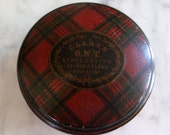 Antique Scottish Mauchline Ware Clarks ONT Thread Seweing Box Stuart Tartan Plaid