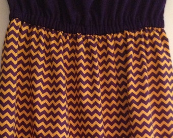 Women's Purple and Gold Chevron or Gold Diamond Dresses- Boutique style Strapless Game Day Dresses