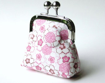 Pink white floral coin purse...3D flower effect button...organic cotton fabric...vegan change purse...key holder...jewelry purse...last one!