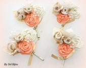 Boutonnieres, Ivory, Tan, Beige, Champagne, Peach, Coral, Corsages, Button Hole, Groomsmen, Groom, Mother of the Bride, Pearls