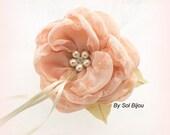 Ring Bearer Pillow, Wedding, Alternative, Flower, Ivory, Champagne, Tan, Blush, Chiffon, Pearls, Crystals, Brooch, Elegant