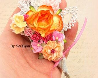 Boutonnieres, Orange, Peach, Hot Pink, Pink Paper, Corsage, Groom, Groomsmen, Shabby Chic, Rustic Wedding, Elegant, Pearls, Garden Wedding