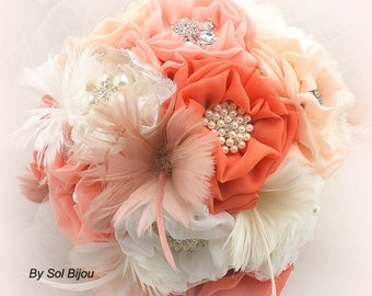 Brooch Bouquet, Peach, Coral, Ivory, Cream, Wedding Bouquet, Elegant ,Jeweled Bouquet, Feather Bouquet, Burlap, Vintage Wedding, Lace