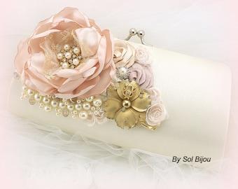 Clutch, Blush, Ivory, Rose, Gold, Handbag, Purse, Vintage Wedding, Elegant, Gatsby Wedding, Bridal, Pearls, Brooch, Satin, Crystals