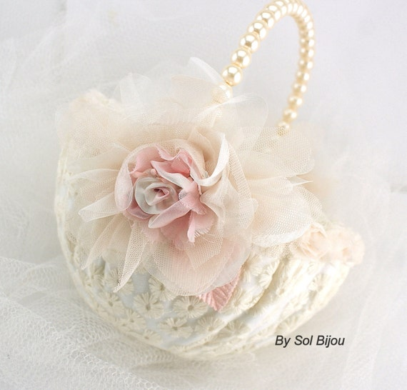 Flower Girl Basket Bridal Basket in Ivory and Light Pink with Lace and Pearls- Vintage Touch