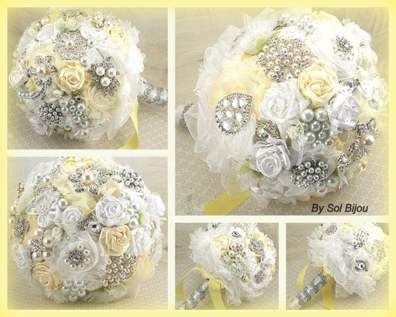 Brooch Bouquet, Lemon, Yellow, White, Summer Wedding,  Bridal, Jeweled, Pearls, Crystals, Tulle, Lace, Elegant Wedding, Spring