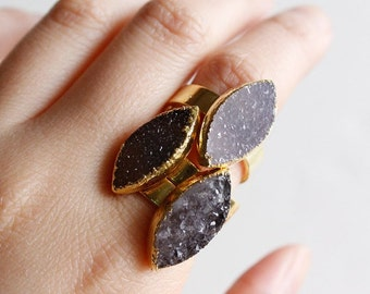 Black and Brown Druzy Quartz Gemstone Rings - Leaf Druzy Stone - Adjustable Rings
