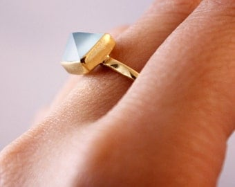 SALE Aqua Chalcedony Pyramid Ring - Mint Green - Point Ring