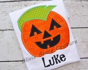 Halloween Pumpkin Shirt, Boys Punk Pumpkin Shirt, Embroidered Applique Shirt or Bodysuit