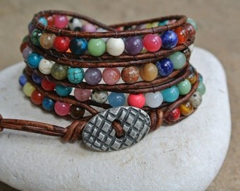 JustHipStuff  Bohemian Gemstone  Beaded Leather Wrap Bracelet