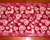 Handmade table runner or wall hanging- Lots of  hearts. size 20 x 44 inches.