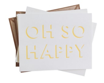 Oh So Happy letterpress card - set of six