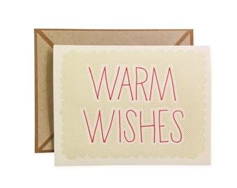 SALE Warm Wishes letterpressed card - single