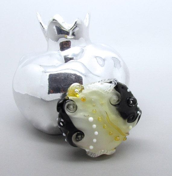 Lampwork Bead Focal, Organic Focal Bead, Glass Focal Bead, Gold Focal Bead, FHFteam, UK, SRA