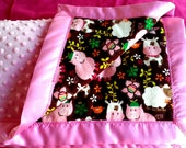 Minky Baby blanket// Farm Animals Soft Flannel// Pink Minky