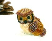 Owl Miniature Figurine Beaded Horned Owl Animal Totem *READY TO SHIP