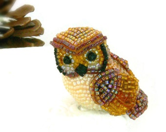 Owl Figurine Miniature Beaded Bird Animal Totem *READY TO SHIP