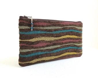 Brown Wave Clutch / Zipper Bag - READY TO SHIP